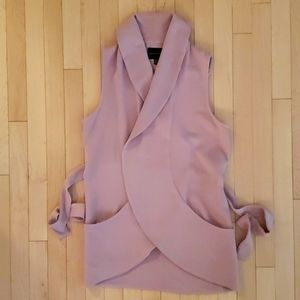 Dusty rose collared vest with ties and pockets